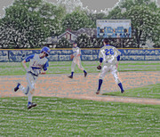 Sport Artist Digital Art Prints - Baseball Runner Heading Home Digital Art Print by Thomas Woolworth