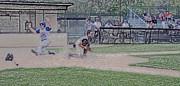 Baseball Runner Safe At Home Digital Art Print by Thomas Woolworth