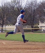 Baseball Step And Throw From Third Base Print by Thomas Woolworth