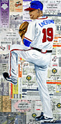 Batter Painting Prints - Baseball Tickets Print by Michael Lee