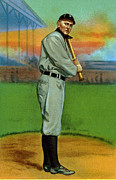 Baseball Bat Metal Prints - Baseball. Ty Cobb Baseball Card Metal Print by Everett