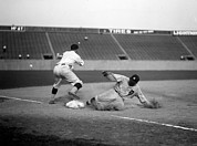 Baseball Uniform Prints - Baseball. Ty Cobb Safe At Third Print by Everett