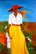 Gullah Art Framed Prints - Bashful Beauty Framed Print by Diane Britton Dunham