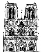 Paris Drawings Prints - basilica Notre Dame Print by Michal Boubin