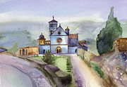 Watercolour Paintings - Basilica of St Francis  Assisi by Lydia Irving