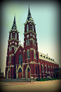 Two Towers Posters - Basilica of St.Francis Xavier in Dyersville Iowa Poster by Susanne Van Hulst