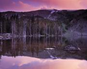 Lemhi Mountains Posters - Basin Lake Sunset Poster by Leland Howard