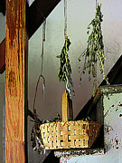 Basket Framed Prints - Basket and Drying Herbs Framed Print by Susan Savad