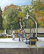 Basketball Paintings - basket  ball in the park Paris France by Udi Peled