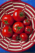 Foods Photo Prints - Basket full of red tomatoes  Print by Garry Gay