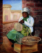Brick Paintings - Basket Lady by Eva Bell Tucker