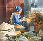 Chinese Peasant Watercolor Framed Prints - Basket Maker Framed Print by Sharon Freeman