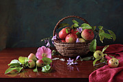 Basket Posters - Basket Of Apples And Blue Flowers Poster by Panga Natalie Ukraine