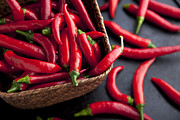 Hot Peppers Posters - Basket of Chilies Poster by Charlotte Lake
