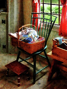 Sewing Rooms Prints - Basket of Cloth and Yarn on Chair Print by Susan Savad