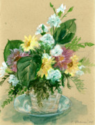Carnations Paintings - Basket of Flowers by Ethel Vrana