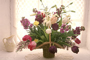 Arrangement Photos - Basket of flowers in window by Garry Gay