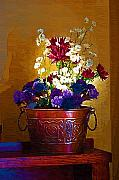 Still Life Digital Art Originals - Basket of Flowers by Paul Bartoszek