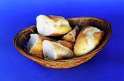 Loaves Prints - Basket of french baguette slices Print by Sami Sarkis