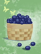 Blueberry Digital Art Prints - Basket Of Fresh Blue Berries Illustration Print by Don Bishop