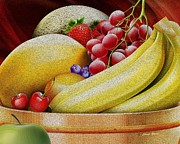 Banana Art Posters - Basket of Fruit Poster by Cheryl Young