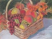 Basket Pastels Posters - Basket of Fruit Poster by Virginia Miranda