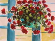 Vivid Colour Drawings Framed Prints - Basket of Geraniums Framed Print by John  Williams
