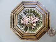 Handcrafted Reliefs - Basket of Pinks by Brenda Berdnik