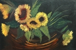 Flowers Reliefs Prints - Basket of Sun Flowers Print by Joseph Kozenczak