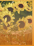Fall Holiday Card Posters - Basket Of Sun Shine Card Poster by Debra     Vatalaro