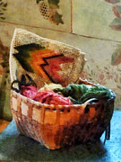 Basket Prints - Basket of Yarn and Tapestry Print by Susan Savad