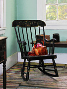 Rocking Chairs Posters - Basket of Yarn on Rocking Chair Poster by Susan Savad