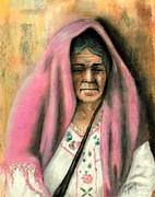 Mexican Pastels Posters - Basket Seller Poster by John De Young