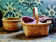 Knitting Framed Prints - Basket With Knitting Framed Print by Susan Savad