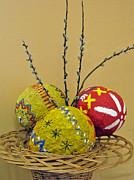 Papier Mache Posters - Basket with Papier-mache Eggs Poster by Ausra Paulauskaite