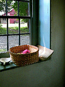 Windowsills Posters - Basket With Yarn Poster by Susan Savad