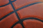 Dunk Framed Prints - Basketball - Leather Close Up Framed Print by Ben Haslam