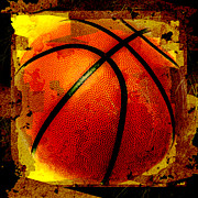 Sports Digital Art Metal Prints - Basketball Abstract Metal Print by David G Paul