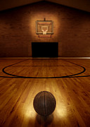 Basket Ball Game Posters - Basketball and Basketball Court Poster by Lane Erickson