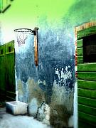Sports Digital Art Metal Prints - Basketball Court Metal Print by Funkpix Photo Hunter