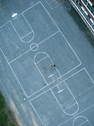 Three People Photo Framed Prints - Basketball Courts From Above Framed Print by Rob Huntley