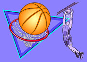 Dunk Digital Art Prints - Basketball Print by Erasmo Hernandez