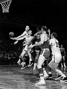 Boston Celtics Framed Prints - BASKETBALL GAME, c1960 Framed Print by Granger