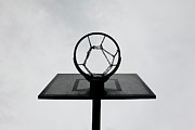 Low Angle View Prints - Basketball Hoop Print by Christoph Hetzmannseder