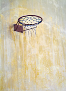 Basketball Sports Prints - Basketball Hoop Mounted on a Wall Print by Noam Armonn