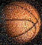 Basketball Digital Art Framed Prints - Basketball Mosaic Framed Print by Paul Van Scott