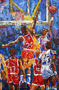 Slam Dunk Painting Posters - BASKETBALL No 1 Poster by Walter Fahmy