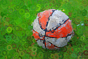 Basketball Orange White Green Abstract Print by Geoff Strehlow