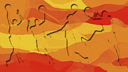 Sports Digital Art - Basketball Players Abstract by David G Paul