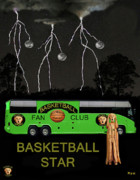 Throw Mixed Media Posters - Basketball Star Poster by Eric Kempson